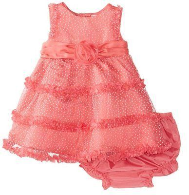 Rare Editions Infant Flocked Dot Mesh Dress w/bloomers