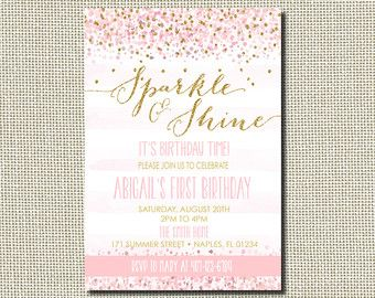 sparkle and shine birthday party invitation printable pink and
