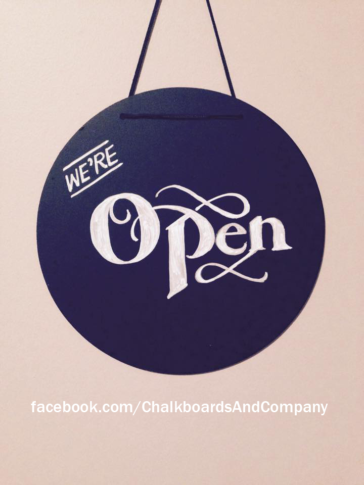 Hand Drawn Chalkboard Open Sign For Business Store Bar Cafe Etc Elegant Shabby Chic With Chalk Board Markers Cafe Sign Cafe Posters Open Signs
