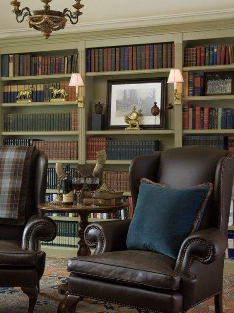 a timeless classic ralph lauren inspired home library via kathleen burke design