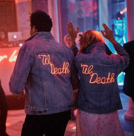 Custom Denim Neon Light-up Jacket Women's ! Custom neon sign