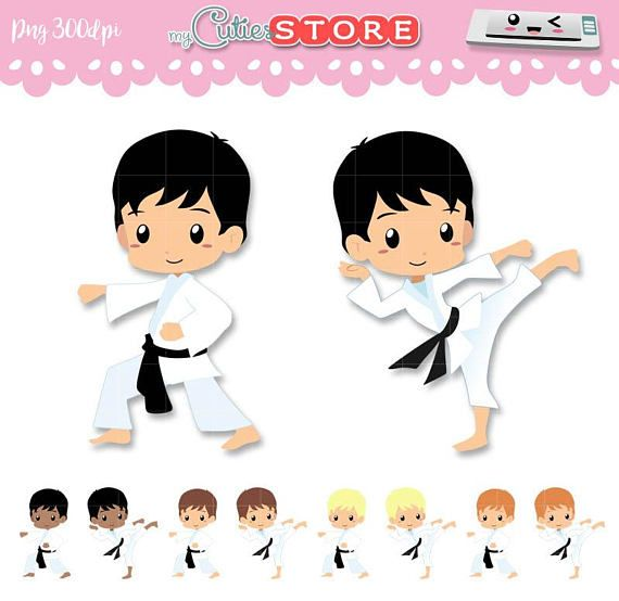 Chibi Karate Kid Clipart Sport Classes Karate Taekwondo Set Png Graphic Great For Planner Stickers Paperclips Commercial Use Ok Karate Dibujo Karate Kid Karate