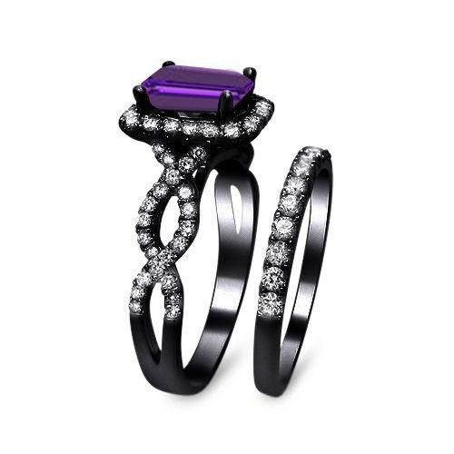 Luxury Emerald Cut Purple Cubic Zirconia Womens Black Engagement