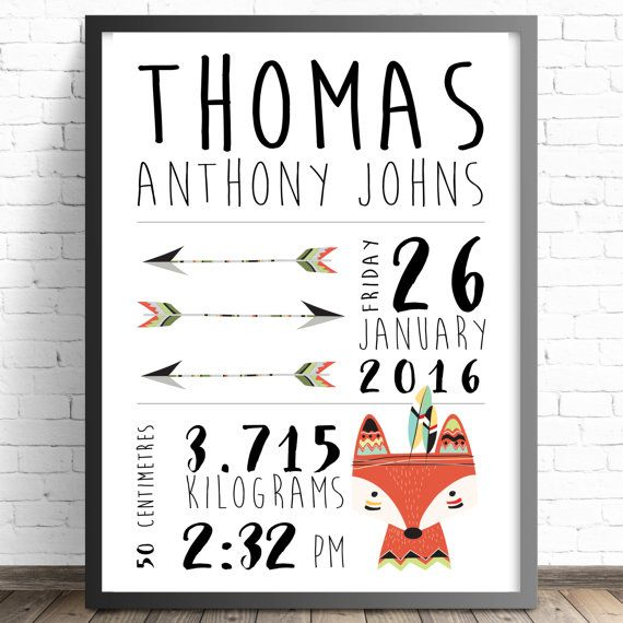 Personalised Tribal Birth Announcement. Nursery or Bedroom