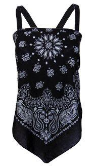 Bandana Tops For Women | long bandana top made from black bandanas