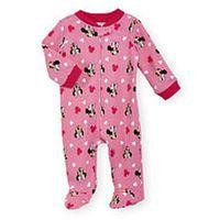 Disney Baby Girls Pink Allover Minnie Mouse Print Zip Up Footie