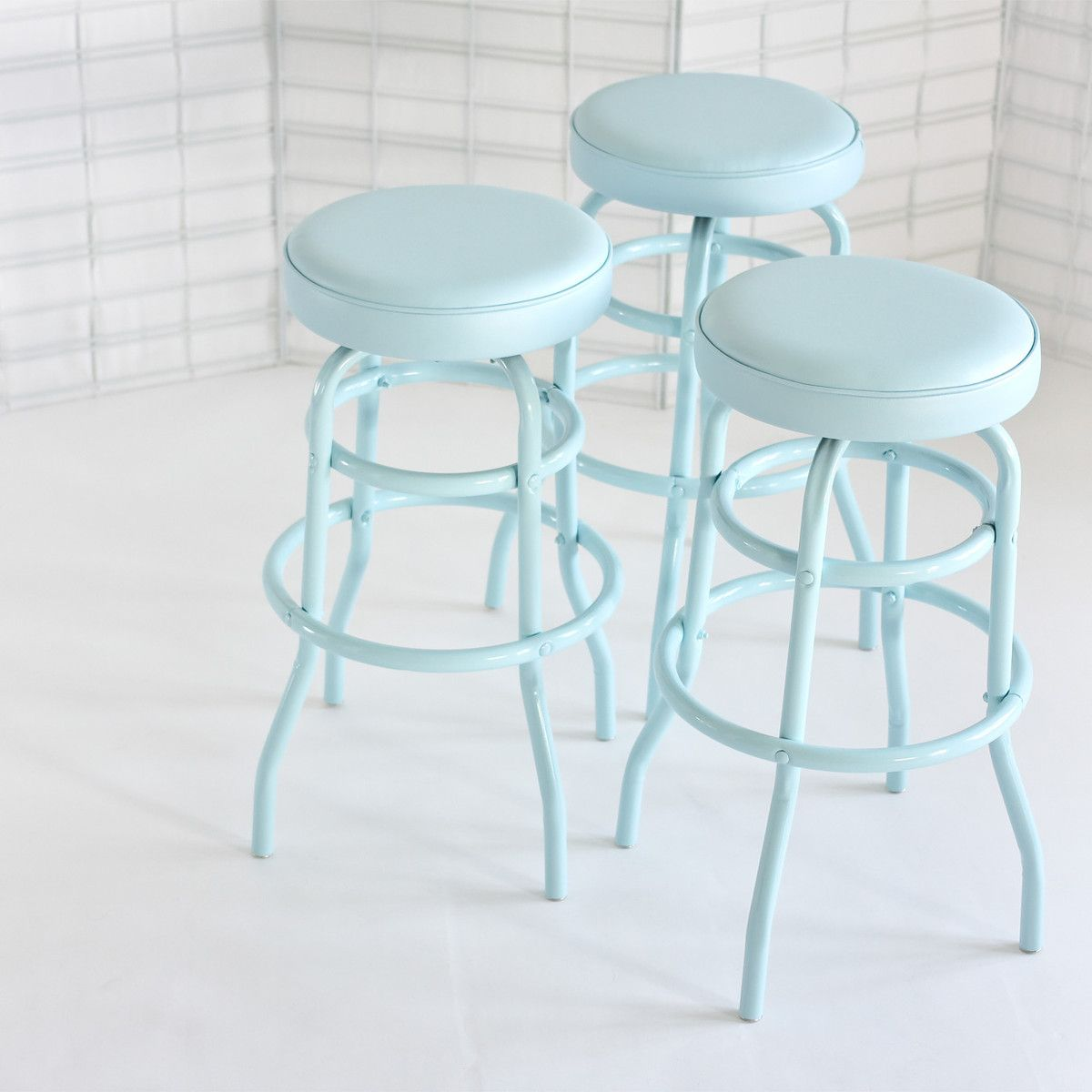 Diner Stools Pale Blue Pair