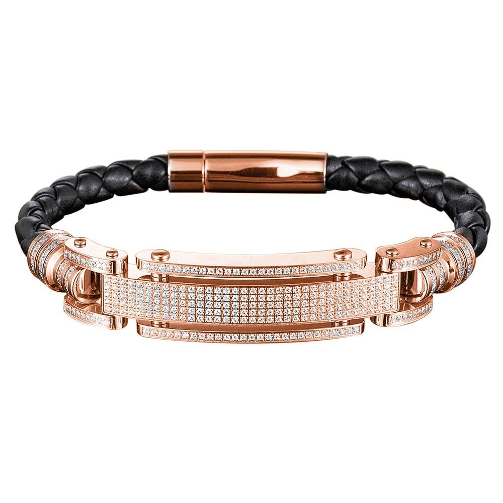 Daniel Steiger Men S Diamondeau Leather Bracelet Rose Gold