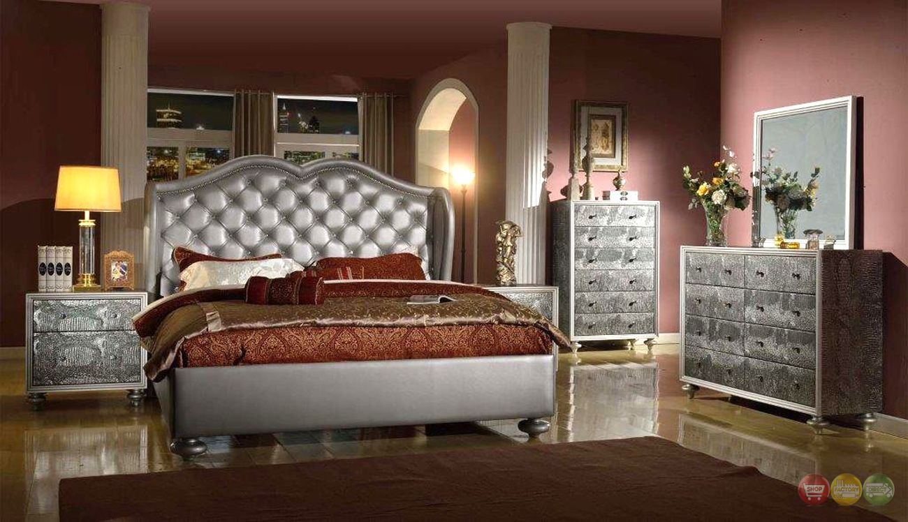 Modern Leather Bedroom Sets Tufted Bedroom Set