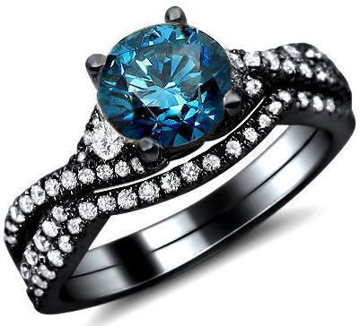 136ct blue round diamond engagement ring bridal set 18k black gold