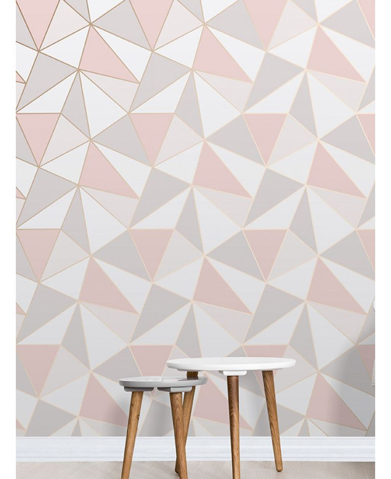 This Apex Geometric Wallpaper In Tones Of Pink White And Grey Features A Contemporary Pattern With Metallic Outline Free UK Delivery Available