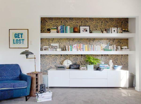 Oh Joy Wallpaper In Black Gold Behind This Shelving Area