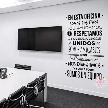 Vinilo decorativo reglas de oficina w425 cuadros for Vinilos para oficinas