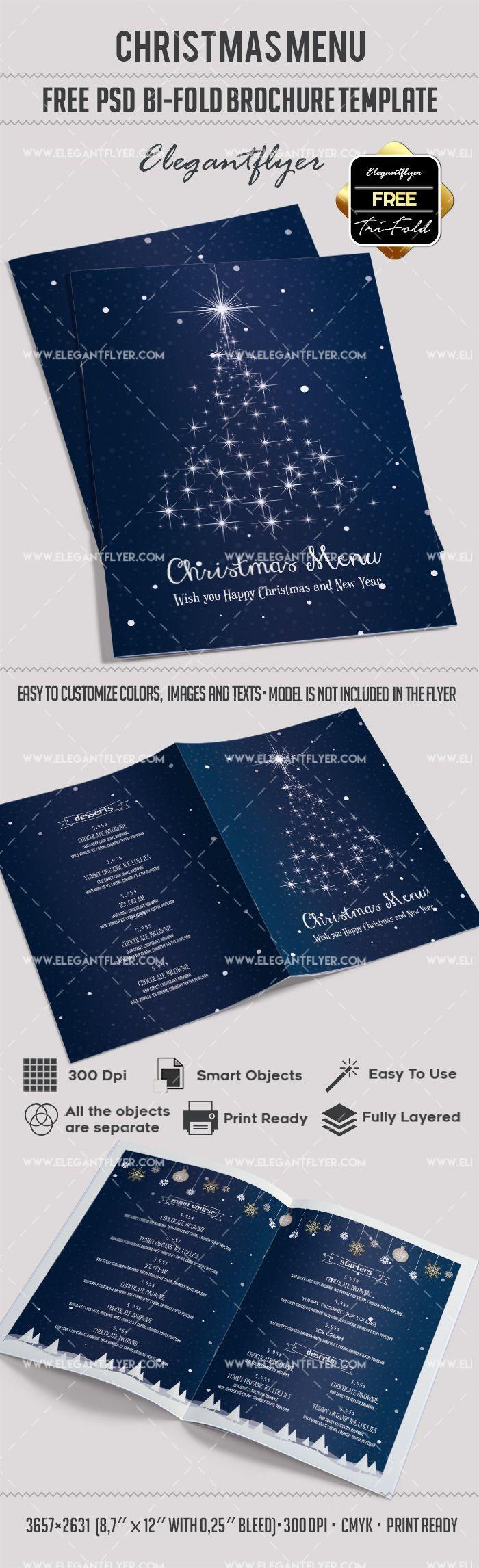 Free Christmas Menu – Bi-Fold PSD Brochure Template | Pinterest ...