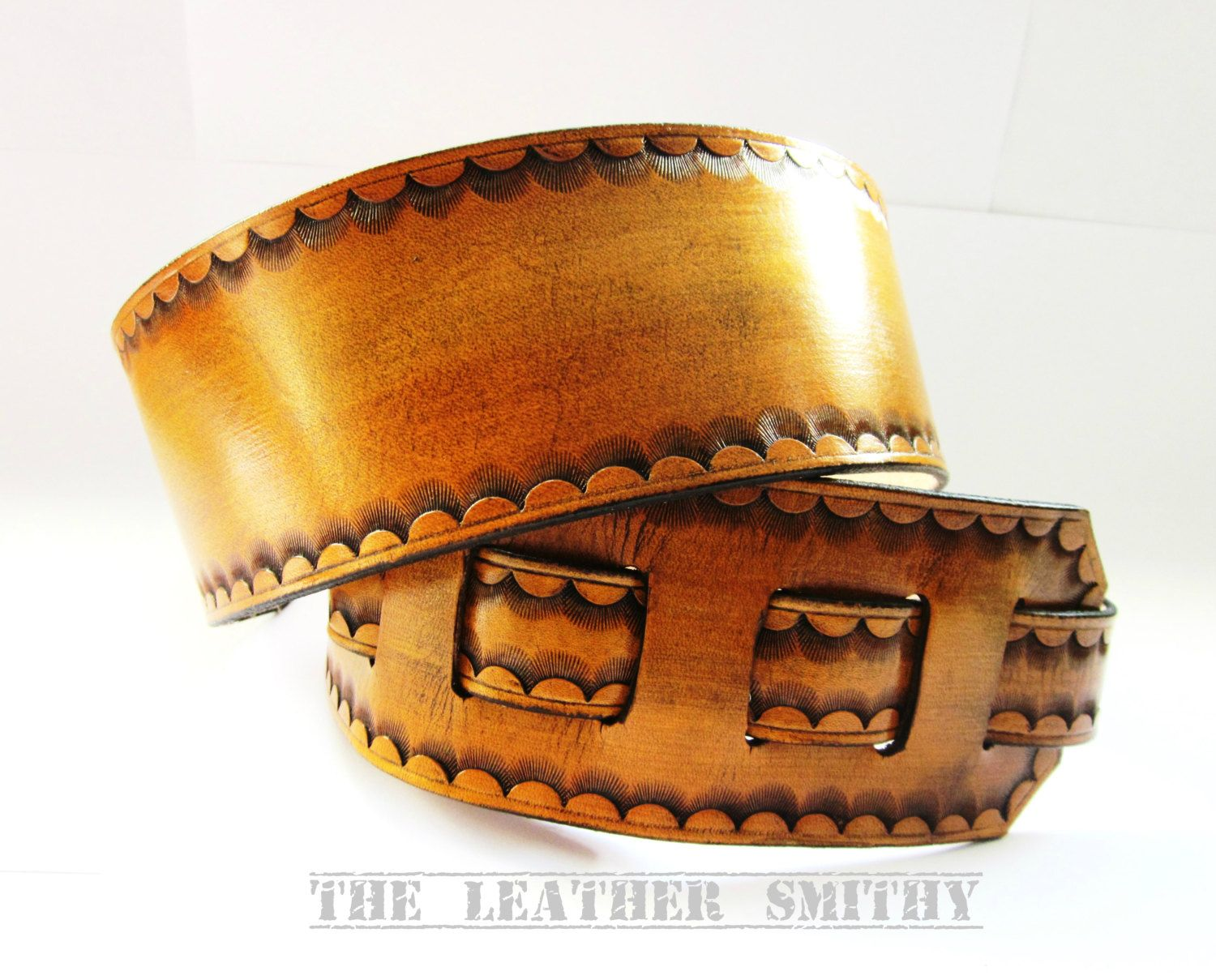 Tan Leather Guitar Strap with Hand Tooled Edge Handmade Guitar Straps