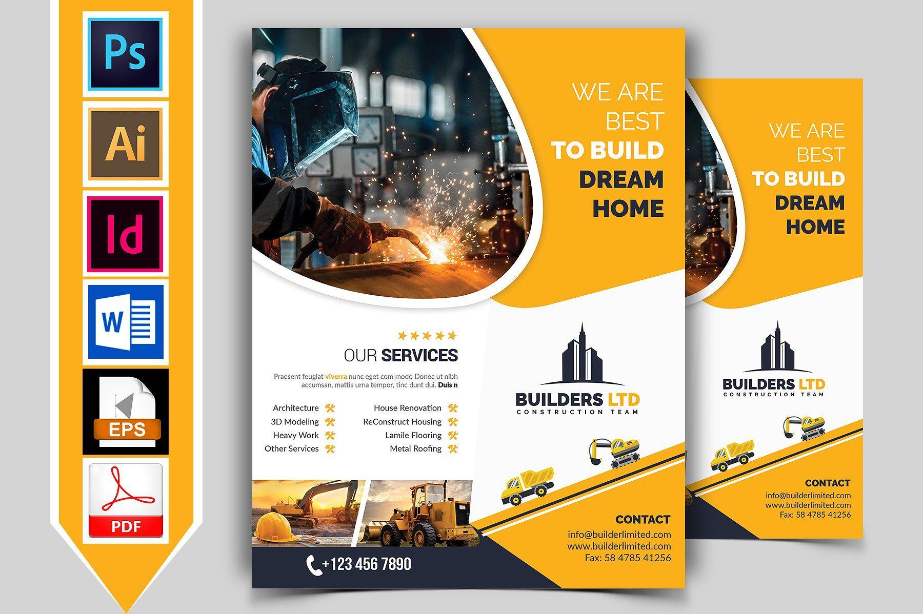 10 Construction Flyer Bundle 90 OFF #Inch#Size#x210mm#Flyer