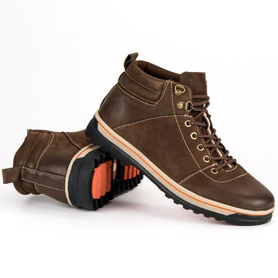 Trekkingowe Meskie Americanclub American Club Brazowe Skorzane Buty Meskie American Boots Shoes Hiking Boots