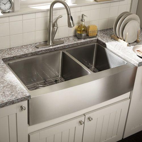 found it at allmodern   farmhouse 36   x 21 25   undermount double bowl kitchen sink found it at allmodern   farmhouse 36   x 21 25   undermount double      rh   pinterest com