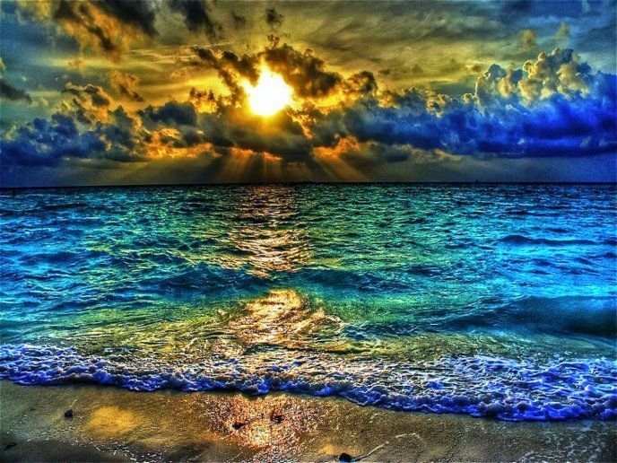 Sunlight In The Ocean Water Hdr Colours Hd Desktop Mobile Wallpaper Beautiful Nature Scenery Nature Photography