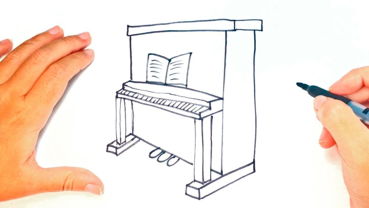 How to draw a piano for kids piano easy draw tutorial