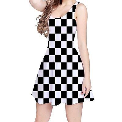Black And White Chess Checker Board Sleeveless Skater Dress