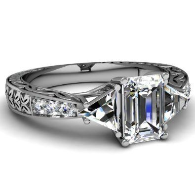 Emerald Cut Diamond Vintage Engagement Ring With Trillion & Round Side Stones in White Gold
