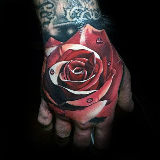 90 Realistic Rose Tattoo Designs For Men Floral Ink Ideas Realistic Rose Tattoo Rose Hand Tattoo Hand Tattoos