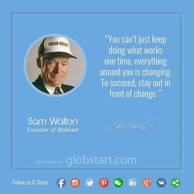 Quote of the day from Sam Walton, founder of Walmart . Tag someone you wanted to tell this And Follow Us to get more tips and rules for success from the greatest minds of the world.  Check out our Facebook for Lifehacks and business tips. [Link in the bio]  #success #business #globstart #entrepreneur #leader #successful #entrepreneurs #startup #leadership #entrepreneurship #ceo #businesswoman #businessman #успех #businessowner #businesstrip #hardworking #entrepreneurlife #startups…