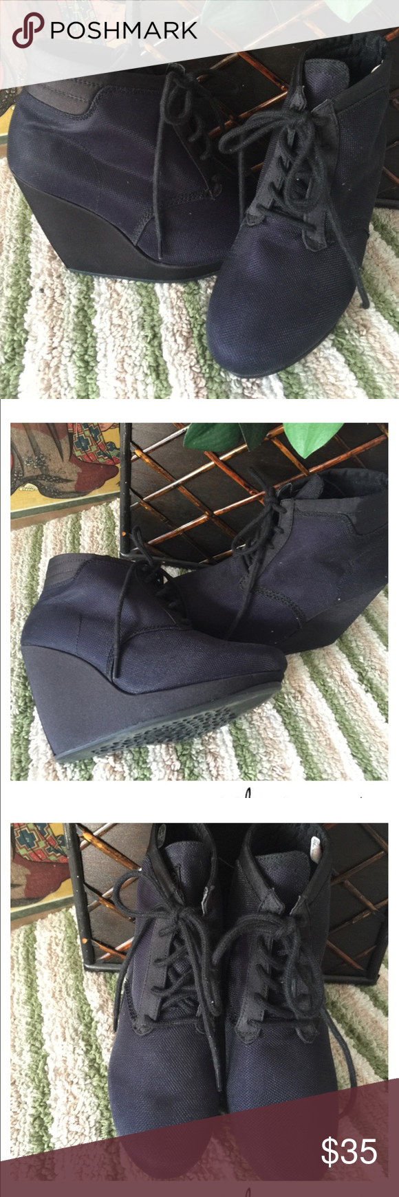 """Adidas Dark Blue Platform Wedge Lace Up Sneaker 🌺Big sale on bundles🌺 🌻2 items 15% off  🌻3 items 25% off  🌻5 items 40% off   Adidas Dark Blue Platform Wedge Lace Up Fancy Sneaker   Size 6  Platform: 0.75"""" Wedge: 4""""  New without box Adidas Shoes Wedges"""