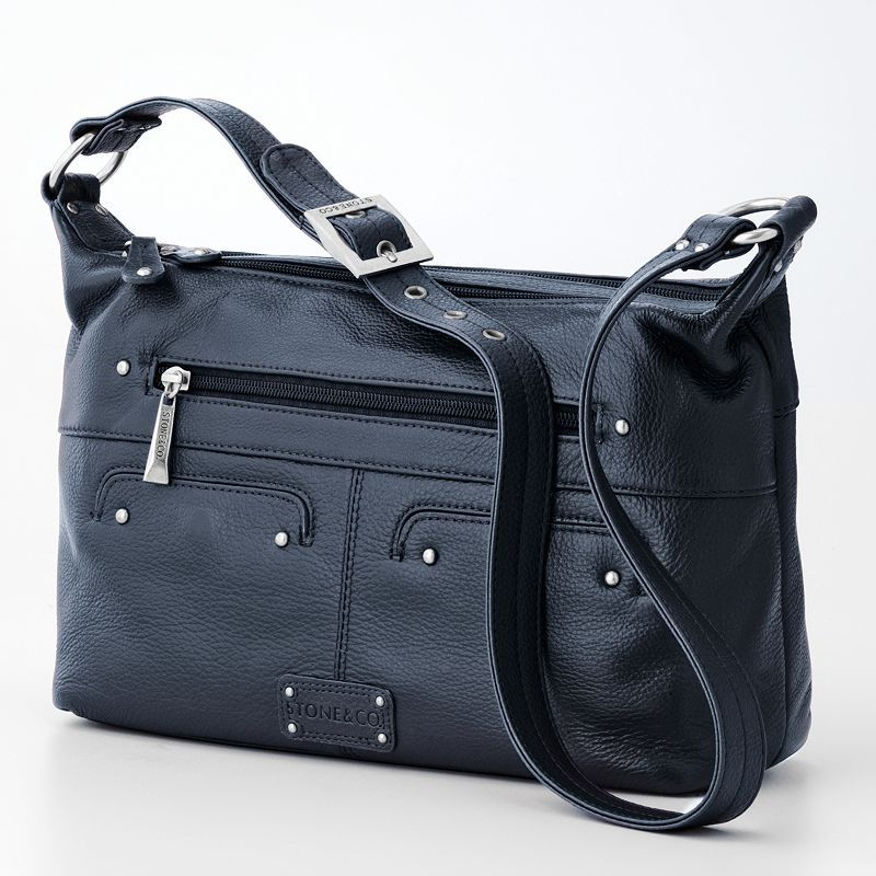 Stone Co Handbags At Kohl S This Hobo Features A Tumbled Leather Construction Double Zip Entry And An Adjule Shoulder Strap