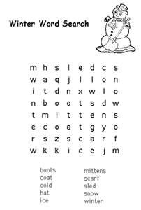 Free Kids Printable Activities Easy Winter Word Search Coloring Pages Puzzles