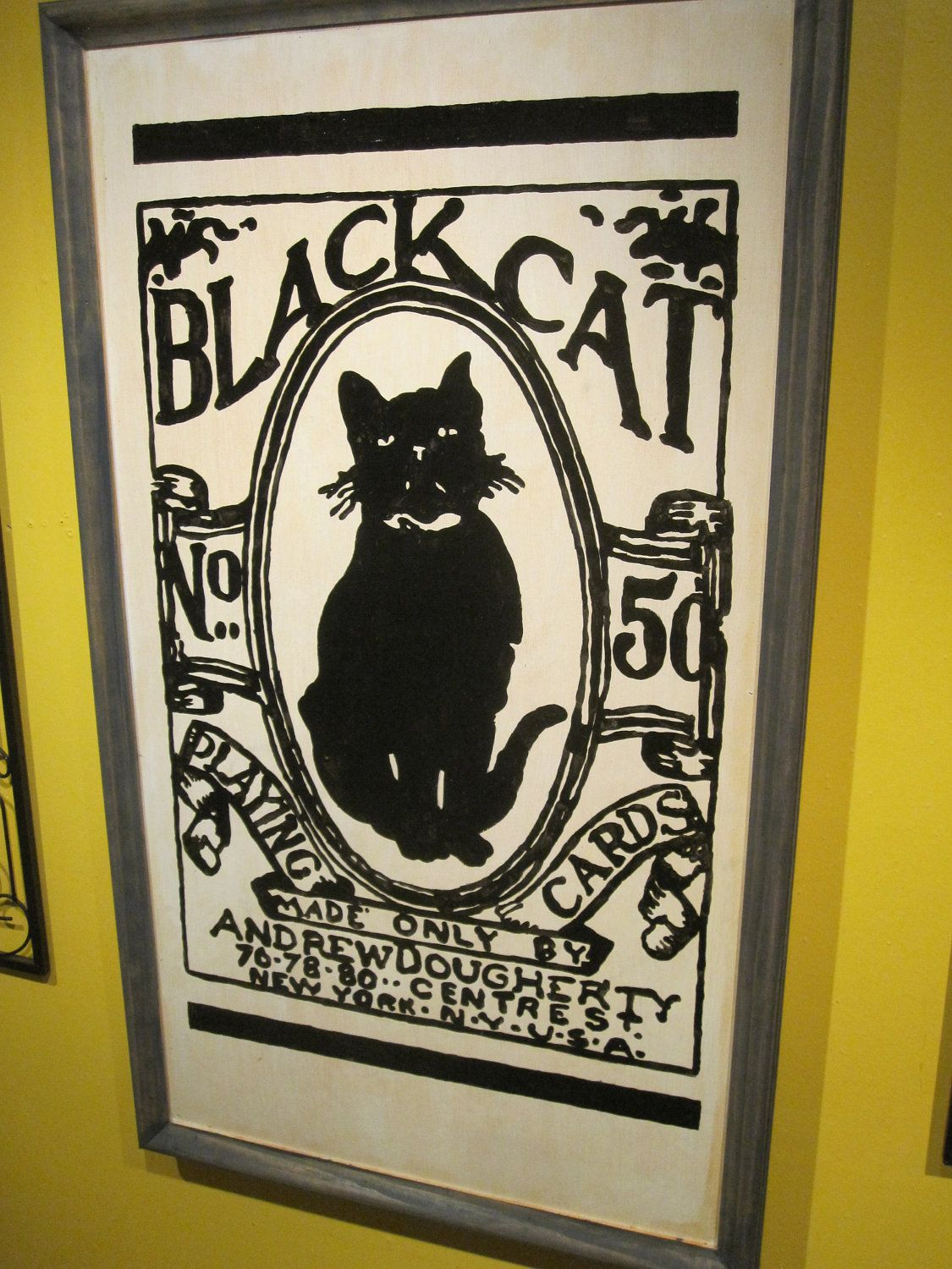 Black cat playing cards sign cat playing black cat
