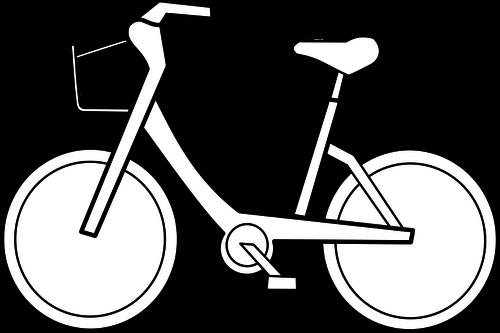 Bicycle Vector Outline Public Domain Vectors Free Clip Art White Bike Clipart Black And White