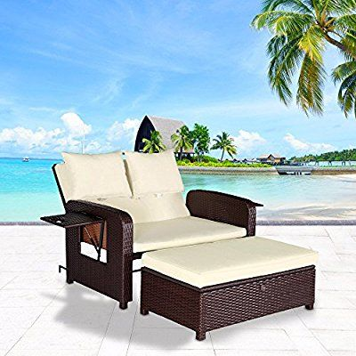 Cloud Mountain 2 Piece Rattan Wicker Love Seat Sofa Daybed Set