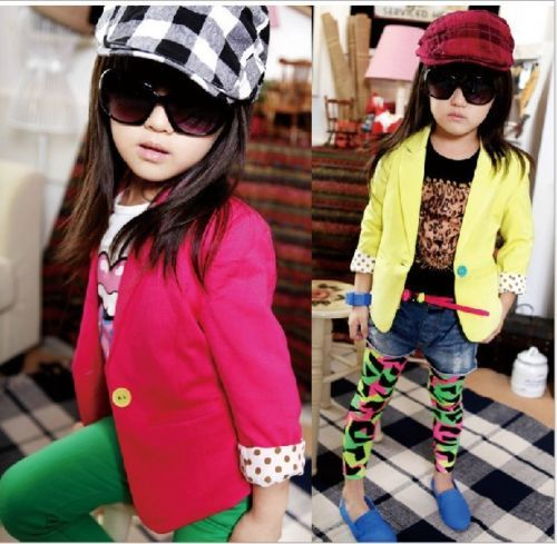 Korean Style Girls Toddler Candy Color Slim Fit Small Suit Jacket
