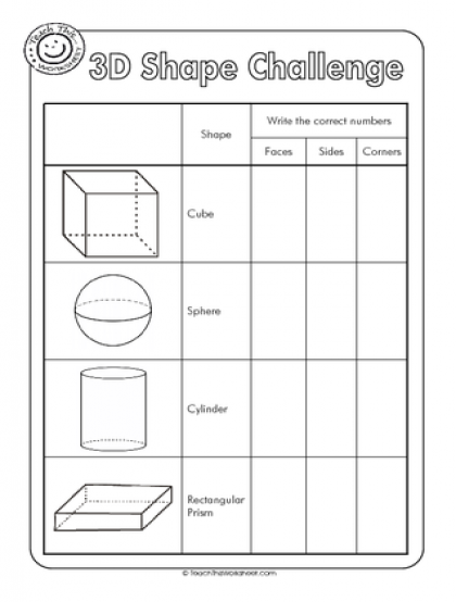 3d Shapes Worksheets 3d Shape Challenge Properties Of 3d Shapes Shapes Worksheets 3d Shapes Worksheets Math Worksheets