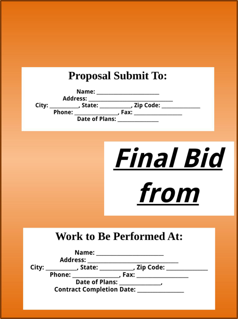 Bid Proposal Template TemplatesForms Pinterest – Bid Proposal Templates
