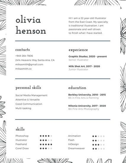 Black And White Floral Pattern Infographic Resume  Resume