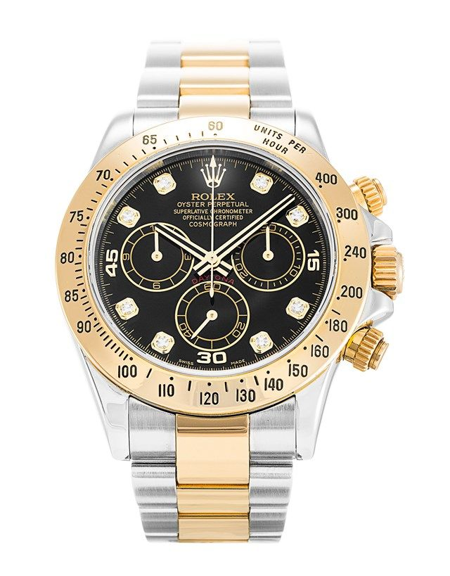 This is a pre-owned Rolex Daytona 116523. It has a 40mm Steel & Yellow Gold case, a Black Custom Diamond dial, a Steel & Yellow Gold (Oyster) bracelet, and is powered by an Automatic movement.