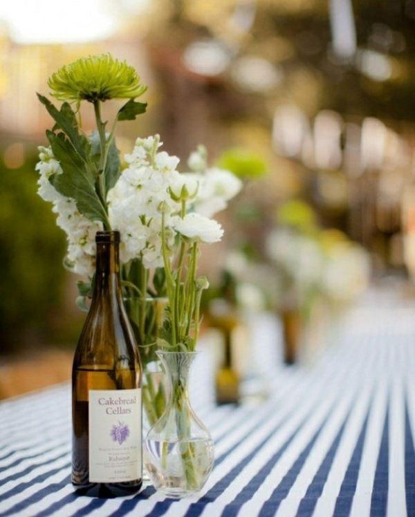 blau weiß grüne weiße Blumen Streifen Tischdeko Pinterest - Deko Gartenparty Grun