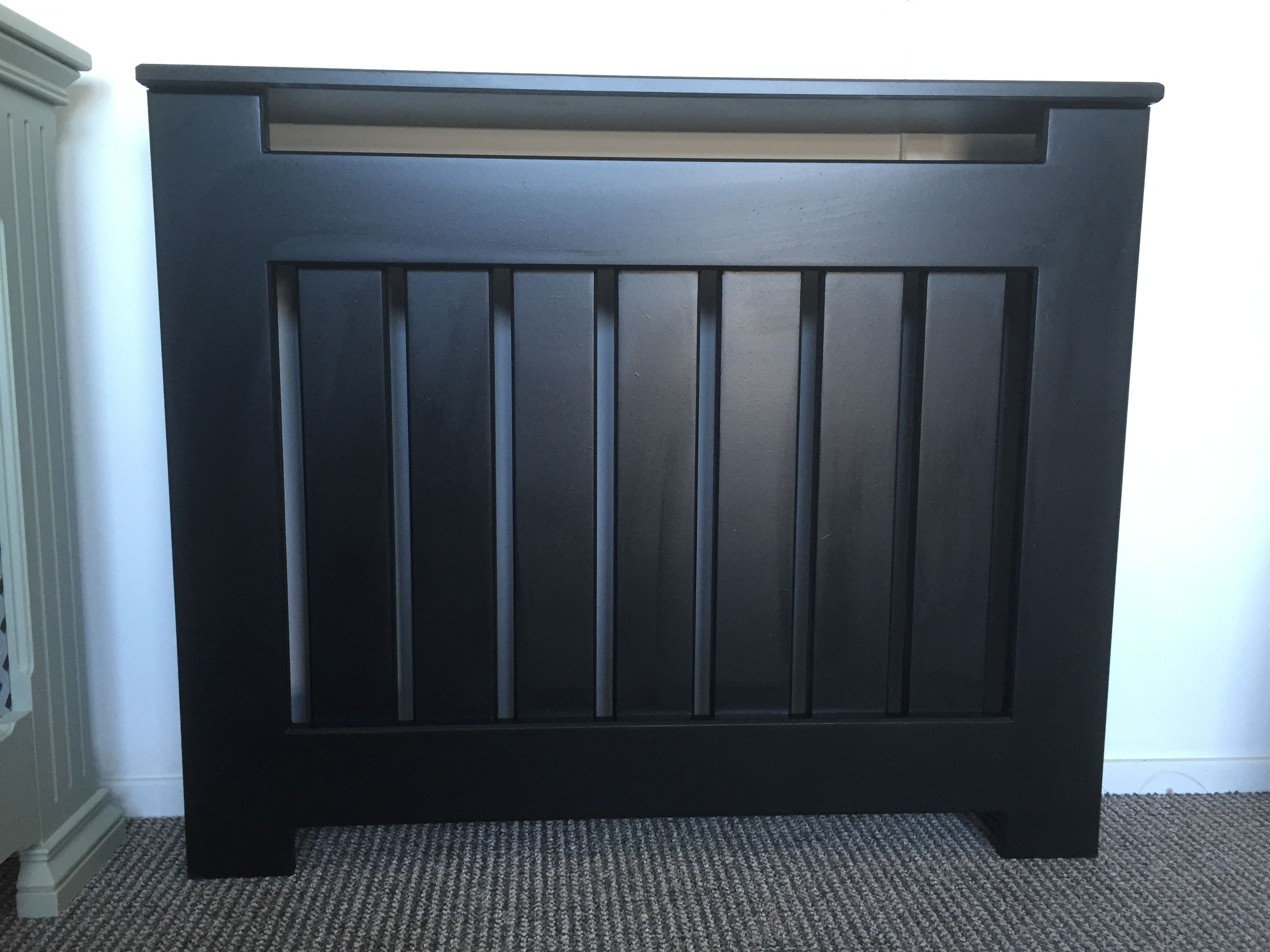 Black Handmade Made to Measure Radiator Storage Heater Cover