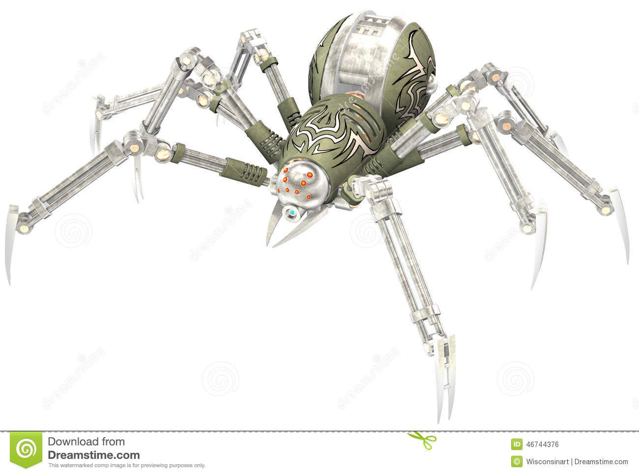 Mechanical Robot Steampunk Spider Isolated Stock Photo - Image ...