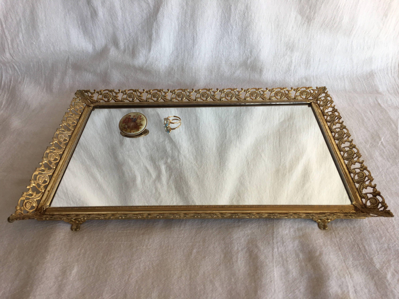 Vintage Adjustable Filigree Metal Mirror Or Mirrored Vanity Tray This Smartly Adjustable Mirror Or Tray May Vintage Vanity Tray Mirror Vanity Tray Vanity Tray