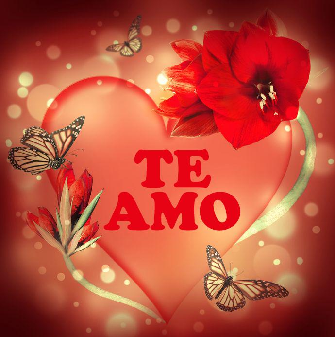 Rosas De Amor Corazon De Amor Con Flores Mariposas Y Mensaje