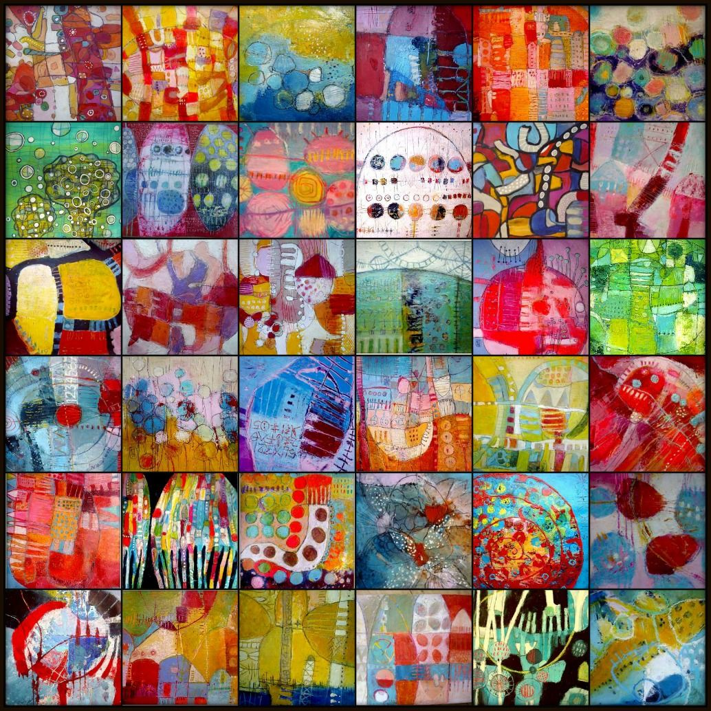 Collage of various acrylic paintings on paper Elke trittel