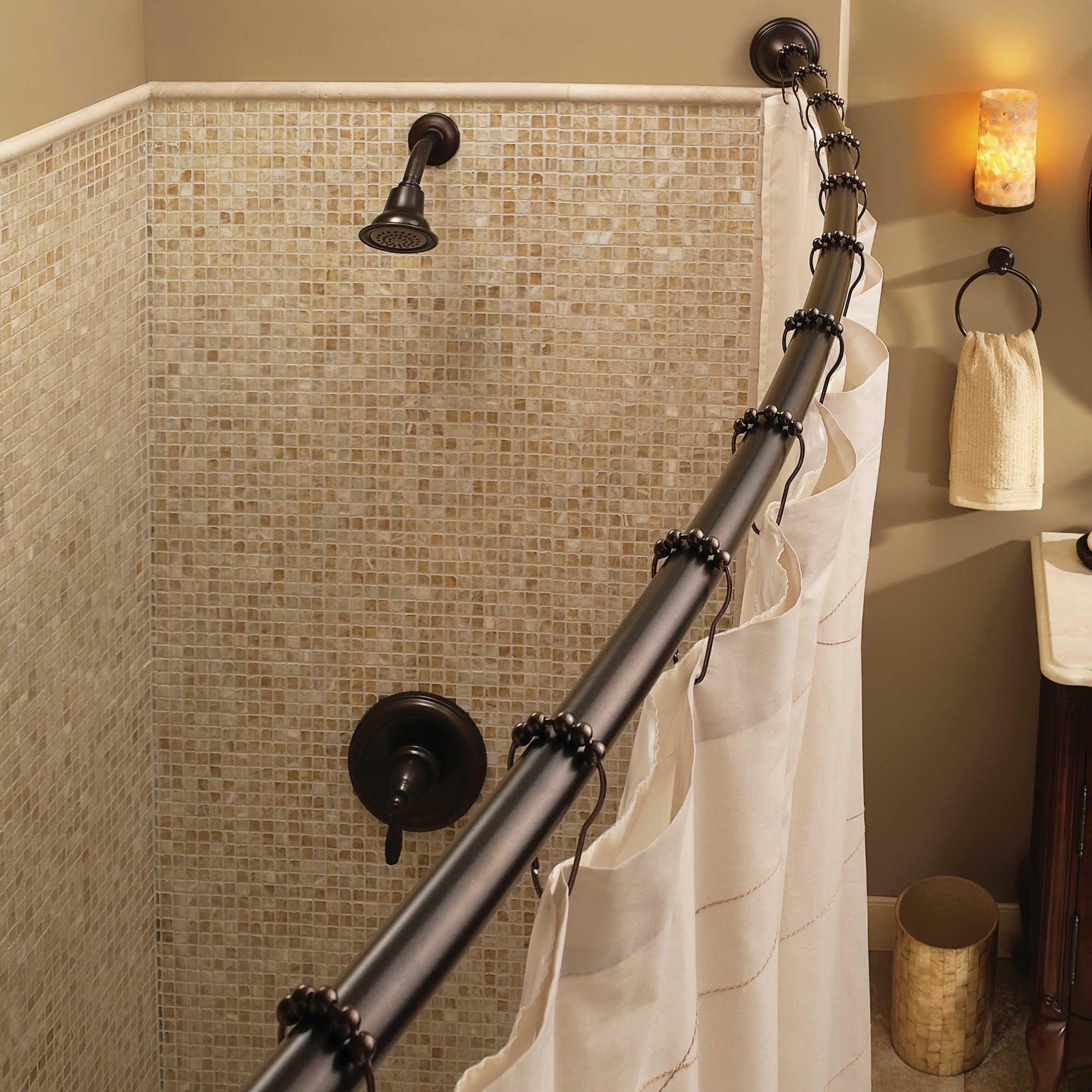 Moen Reg Adjustable Curved Old World Bronze Shower Rod Shower