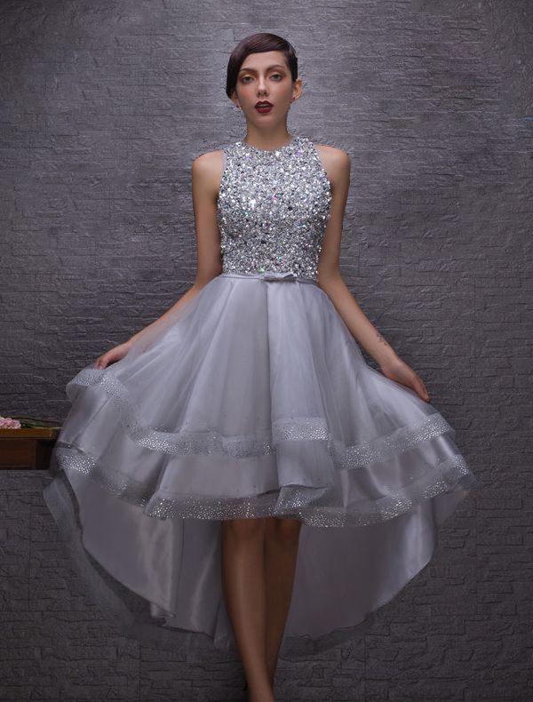 2d26077265 Świecący Sukienki Koktajlowe 2016 Wycięciem Linkę Kryształy Cekinami  Cyrkonie Asymetryczną Sukienkę
