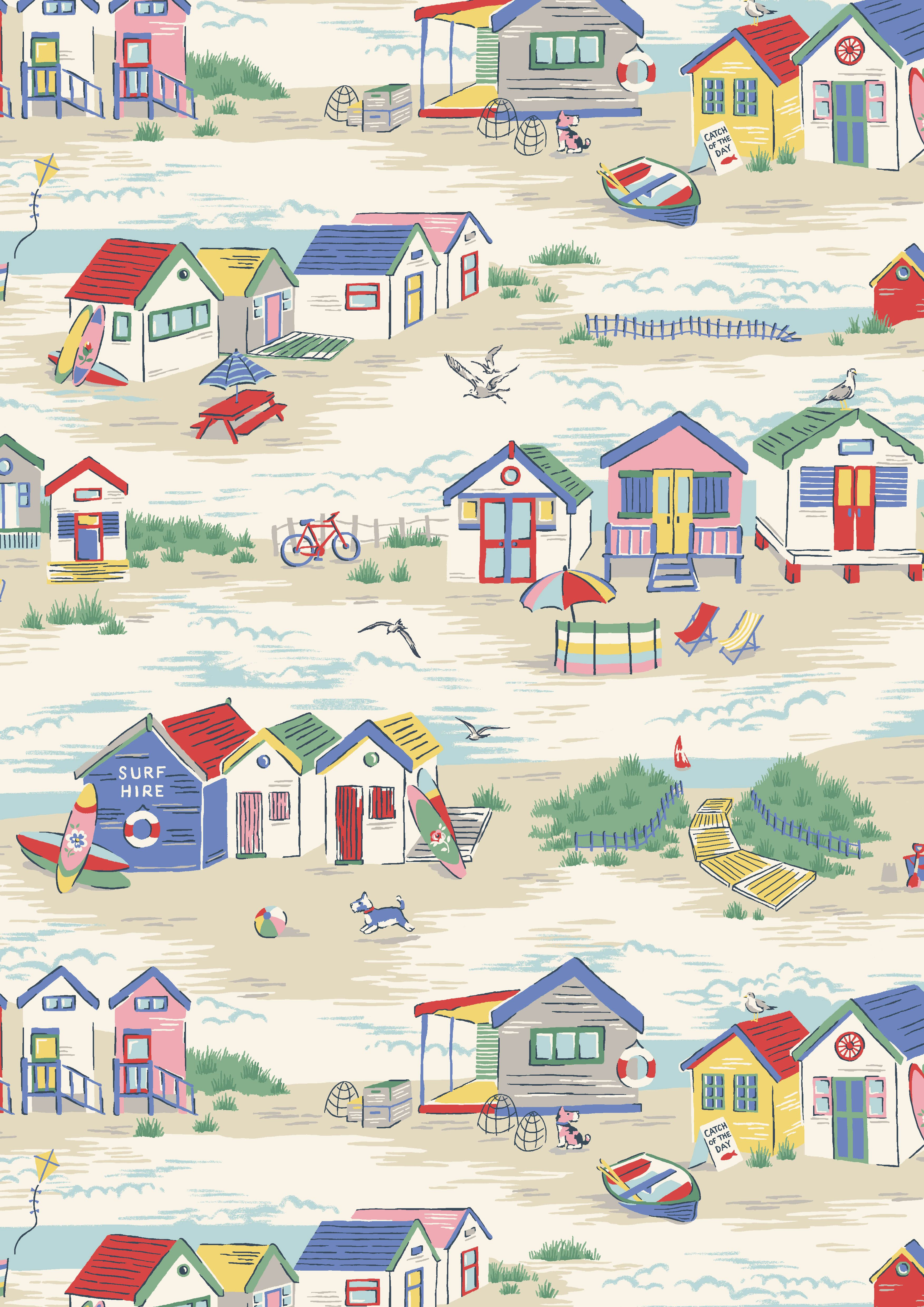 Beach huts bright british beach huts are at the heart of our playful seaside scene cath - Dessin cabine de plage ...