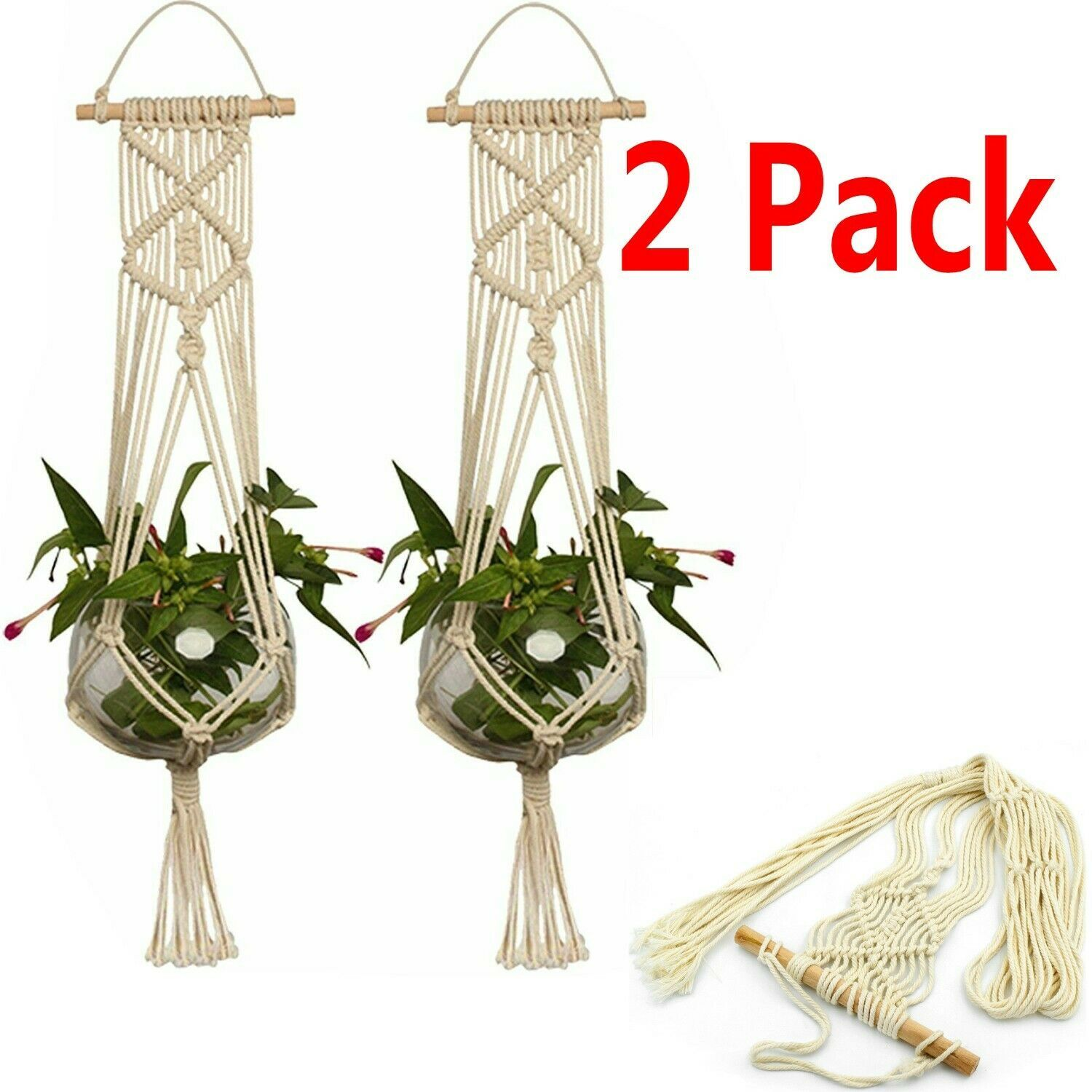 2 Pack Plant Hanger Flower Pot Plant Holder Large 4 Legs Macrame Jute 36 Inch Plant Holder Ideas Of Plant Holder Plantho Plant Holders Plant Hanger Plants
