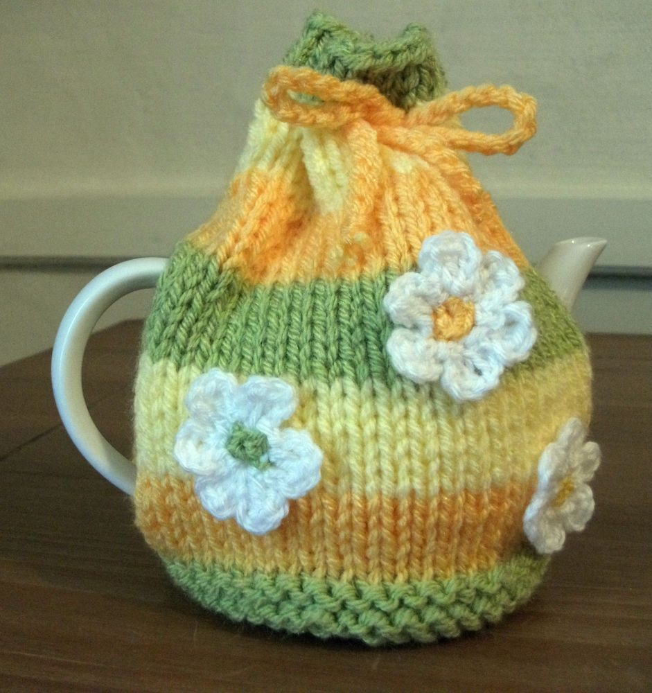 Hand Knitted Flower Striped Tea Cosy For A Small Teapot (1 ...